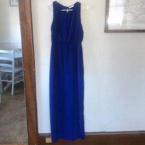 Lush Royal Blue Maxi Dress with Cutout Back